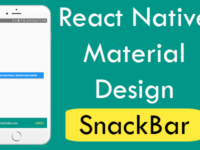 React Native Create Material Design SnackBar in Android iOS Example