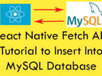 React Native Fetch API Tutorial to Insert Into MySQL Database Using PHP iOS Android Example