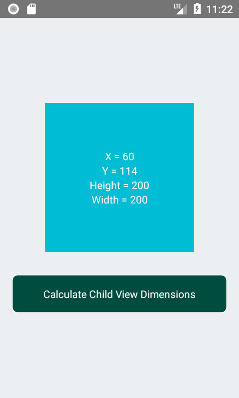 calculate child view X Y Dimensions dynamically on Button Click
