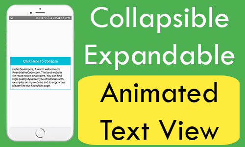 React Native Collapsible Animated Text View with Slide up Slide down