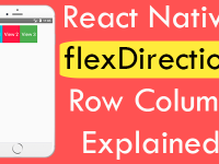 React Native flexDirection Row Column Explained iOS Android example