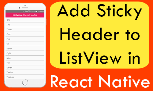 React Native Add Sticky Header to ListView Android iOS Example