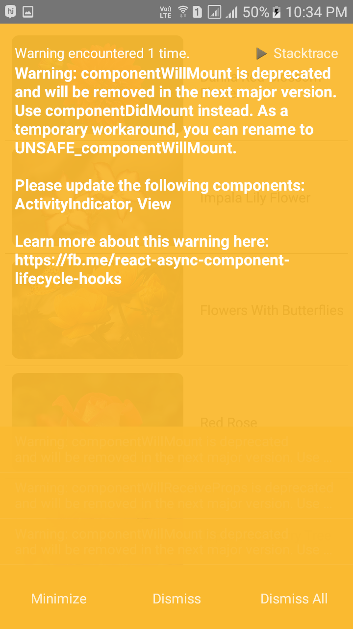 React Native Solve Warning componentwillmount is Deprecated and will