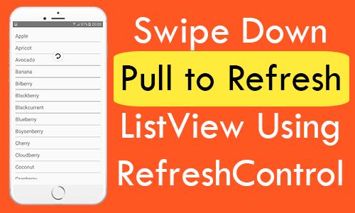 React Native Swipe Down Pull to Refresh ListView Using