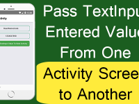 React Native Pass TextInput Entered Value From One Activity Screen to Another