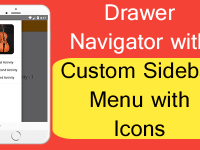 React Native Drawer Navigator with Custom Sidebar Menu with Icons Tutorial