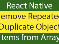 React Native Remove Repeated Duplicate Object Items from Array