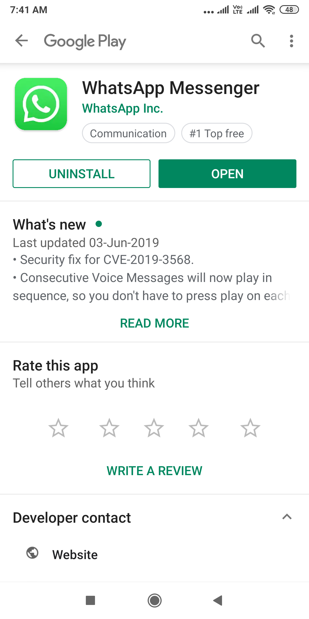 Open Specific App in Google Play Store from App in Android