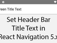 React Native Set Header Bar Title Text in React Navigation 5.x