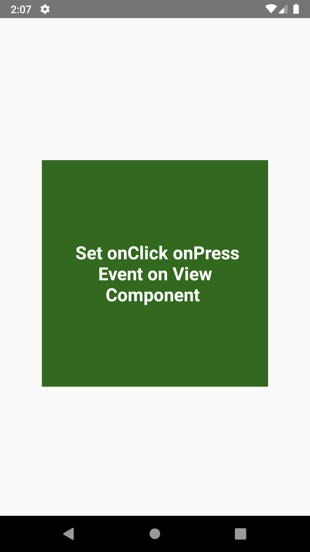 React Native Set onPress onClick on View Component Android iOS Example Tutorial