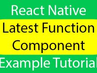 React Native Latest Function Component Example Tutorial