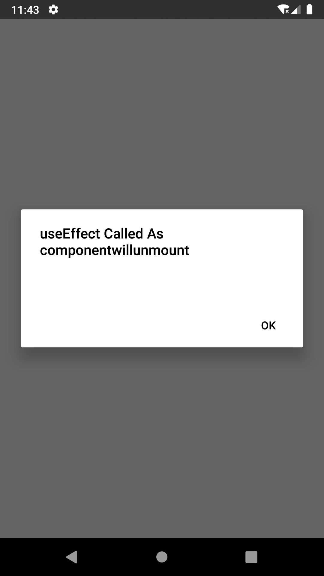 Use useEffect as componentwillunmount in React Native Hooks Example