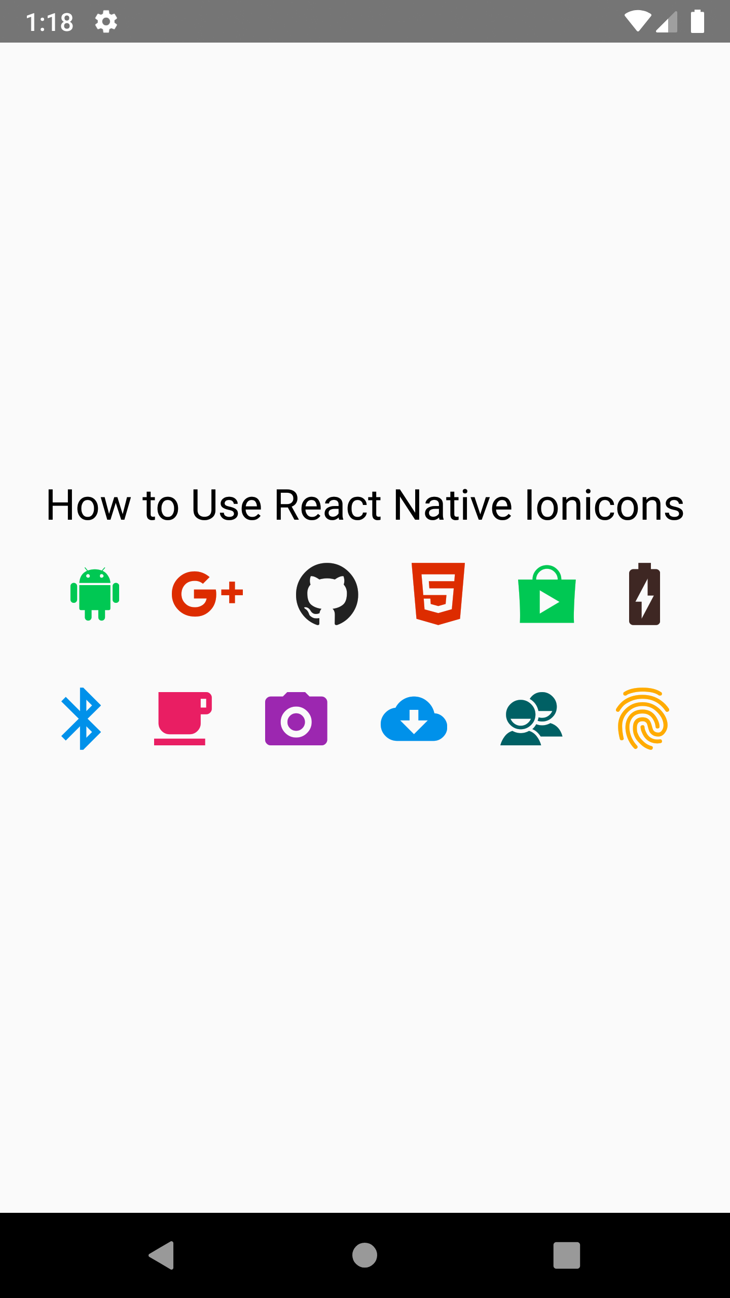 Use React Native Ionicons Icon in Android iOS App Example