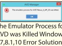 The Emulator Process for AVD was Killed Windows 7,8.1,10 Error Solution