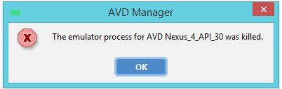 The Emulator Process for AVD was Killed