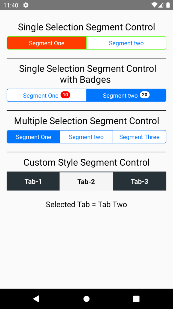 React Native Segmented Control Tab Android iOS NPM Example