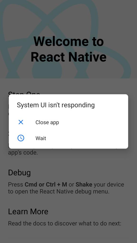 System UI isn't responding Android Emulator React Native Error Solution